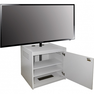 ELCO™-VTC-26 Mobile Video Display Cart in White Melamine - Front View