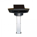 MLI-38 Industrial Style Lectern in Black Laminate & Aluminum - Back View Raised Position