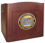 MLR-45 Radius Style Lectern in Classic Mahogany - Front View