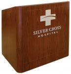 MLR-40 Radius Style Lectern in Harvest Walnut - Front View