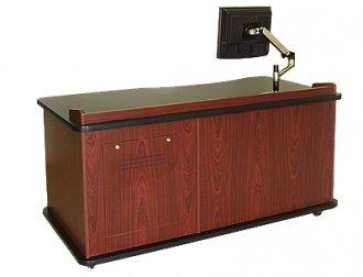 SCM-640L ADA Teacher's Desk in Mahogany Melamine - Front View