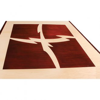 V-Shaped Video Conference Table in Natural Maple and Classic Walnut - Logo Inlay